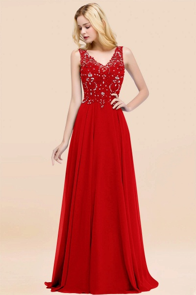 A-line Chiffon Appliques V-neck Sleeveless Floor-Length Bridesmaid Dresses with Crystals_8