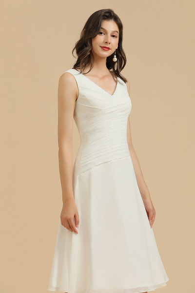 BM2005 Simple A-line Straps Ruffles Short Bridesmaid Dress_6