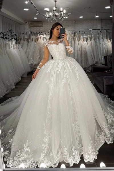 BC5615 Long Sleeve Appliques Sheer Tulle Ball Gown Wedding Dress