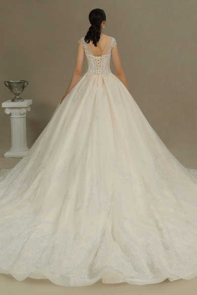 CPH223 Cap Sleeve Aline Cathedral Tulle Lace Appliques Garden Luxury Wedding Dresses_2