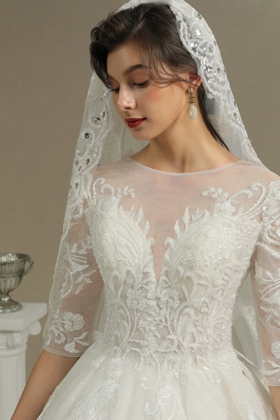 CPH227 Luxury Floral Lace Bridal Gown Crew Neck Long Sleeves Aline Luxury Wedding Dresses_5