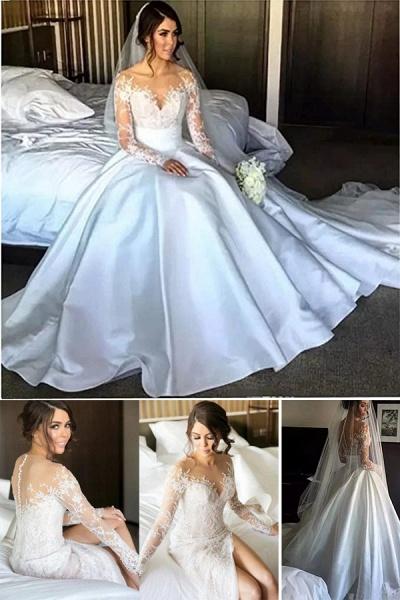 High Slit Lace Mermaid Wedding Dresses with Detachable Skirt_4
