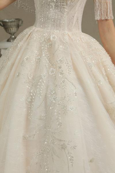 CPH224 Appliques Beads Off-the-shoulder Tassel Ball Gown Wedding Dress_4