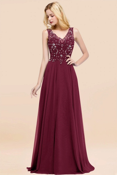 A-line Chiffon Appliques V-neck Sleeveless Floor-Length Bridesmaid Dresses with Crystals_44