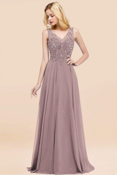 A-line Chiffon Appliques V-neck Sleeveless Floor-Length Bridesmaid Dresses with Crystals_37