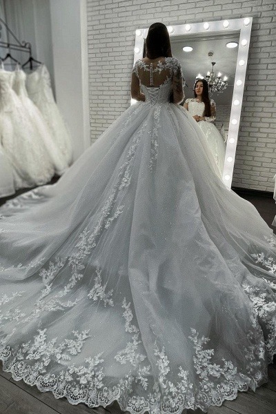 BC5615 Long Sleeve Appliques Sheer Tulle Ball Gown Wedding Dress_4