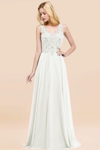 A-line Chiffon Appliques V-neck Sleeveless Floor-Length Bridesmaid Dresses with Crystals_2