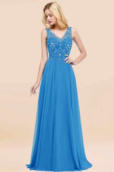 A-line Chiffon Appliques V-neck Sleeveless Floor-Length Bridesmaid Dresses with Crystals_25