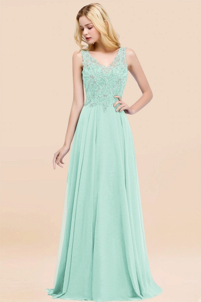 A-line Chiffon Appliques V-neck Sleeveless Floor-Length Bridesmaid Dresses with Crystals_36