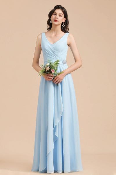BM2002 Sky Blue Ruffles Straps A-line Beads Bridesmaid Dress_4