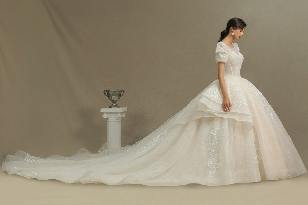 CPH222 Short Sleeve Garden Bridal Gown Sweetheart Luxury Wedding Dresses with Sweep Train_4