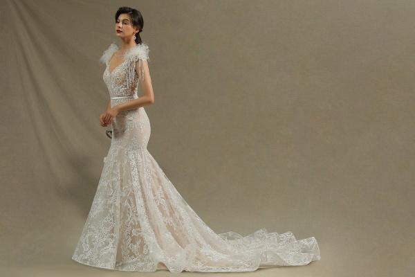 CPH233 Mermaid Further Tassel Appliques Open Back Wedding Dress_5
