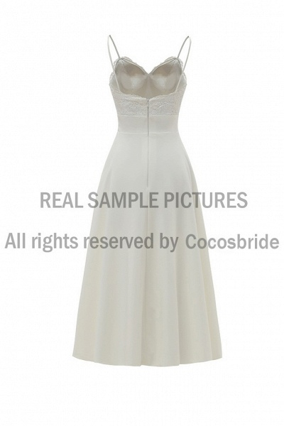 A-Line Wedding Dresses V Neck Tea Length Satin Spaghetti Strap Formal Illusion Detail_5