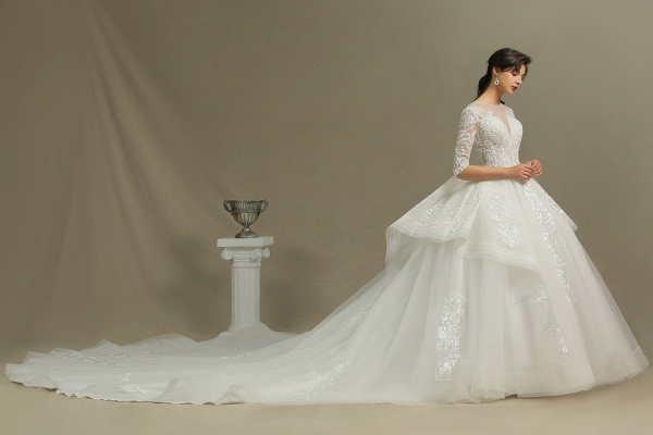 CPH227 Luxury Floral Lace Bridal Gown Crew Neck Long Sleeves Aline Luxury Wedding Dresses_7