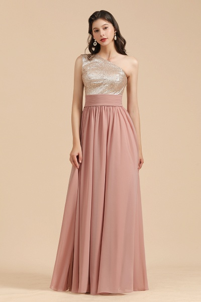 BM2010 Sequins A-line One Shoulder Pink Bridesmaid Dress
