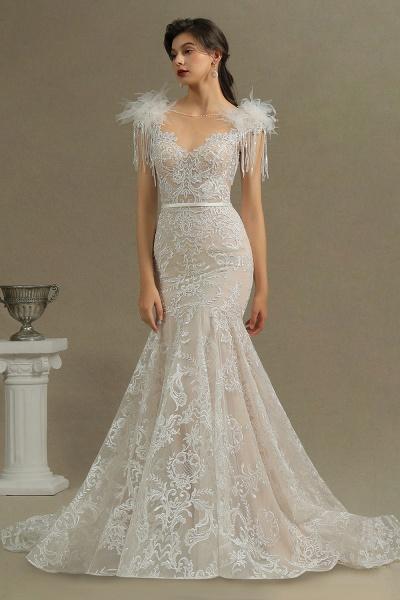 CPH233 Mermaid Further Tassel Appliques Open Back Wedding Dress_3