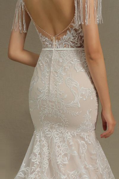 CPH233 Mermaid Further Tassel Appliques Open Back Wedding Dress_8
