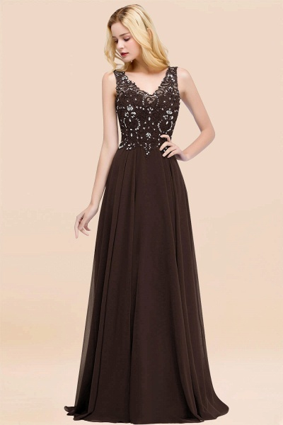 A-line Chiffon Appliques V-neck Sleeveless Floor-Length Bridesmaid Dresses with Crystals_11