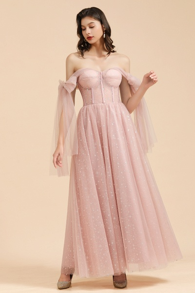 BM2007 A-line Pink Off The Shoulder Bow Tulle Floor Length Bridesmaid Dress_6