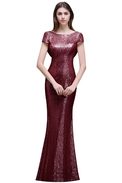 Women Sparkly Rose Gold Long Sequins Bridesmaid Dresses Prom/Evening Gowns_1