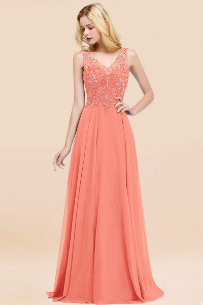 A-line Chiffon Appliques V-neck Sleeveless Floor-Length Bridesmaid Dresses with Crystals_45