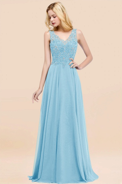 A-line Chiffon Appliques V-neck Sleeveless Floor-Length Bridesmaid Dresses with Crystals_23