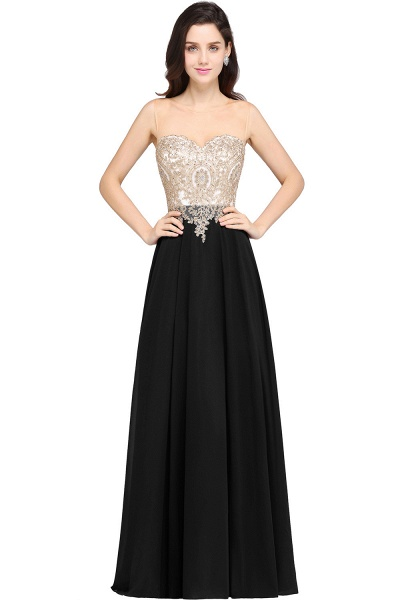 A-line Scoop Dark Navy Chiffon Evening Dresses with Appliques_4