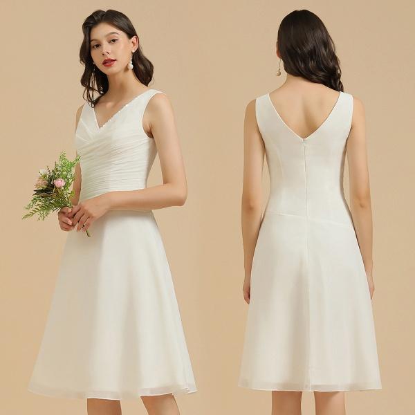 BM2005 Simple A-line Straps Ruffles Short Bridesmaid Dress_10