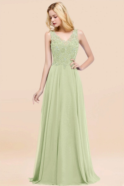 A-line Chiffon Appliques V-neck Sleeveless Floor-Length Bridesmaid Dresses with Crystals_35