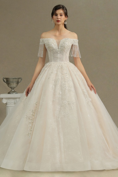 CPH224 Appliques Beads Off-the-shoulder Tassel Ball Gown Wedding Dress_2