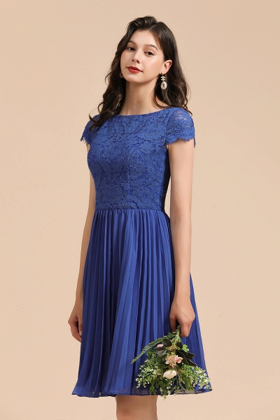 BM2003 Royal Blue Lace Short Sleeve Knee Length Bridesmaid Dress