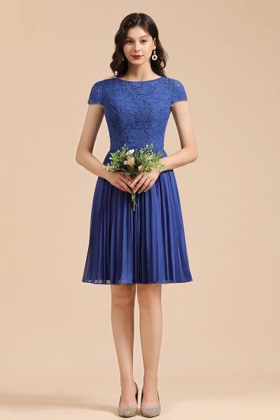 BM2003 Royal Blue Lace Short Sleeve Knee Length Bridesmaid Dress_6
