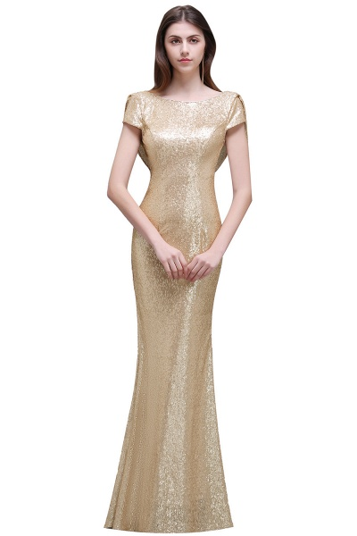 Women Sparkly Rose Gold Long Sequins Bridesmaid Dresses Prom/Evening Gowns_3