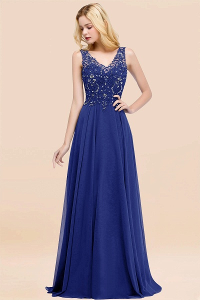 A-line Chiffon Appliques V-neck Sleeveless Floor-Length Bridesmaid Dresses with Crystals_26
