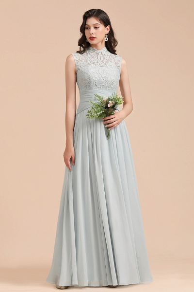 BM2001 A-line High Neck Lace Sleeveless Long Bridesmaid Dress