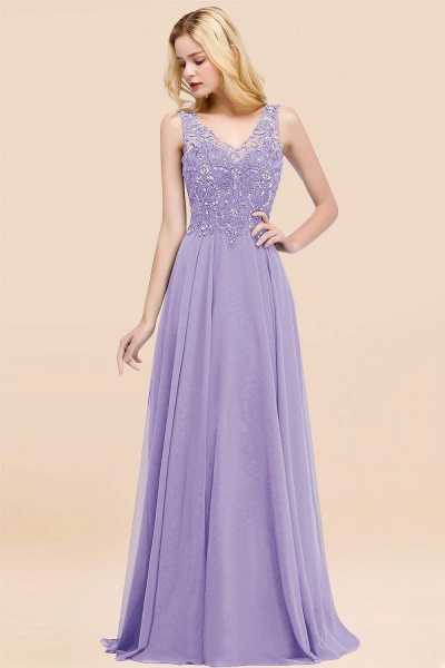A-line Chiffon Appliques V-neck Sleeveless Floor-Length Bridesmaid Dresses with Crystals_21