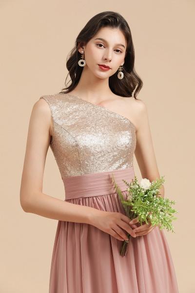 BM2010 Sequins A-line One Shoulder Pink Bridesmaid Dress_9