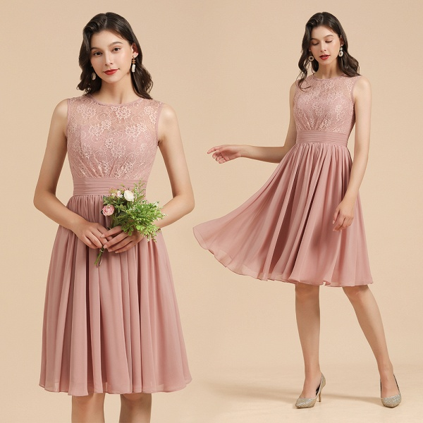 BM2008 Simple Lace Straps Knee Length Short Bridesmaid Dress_10