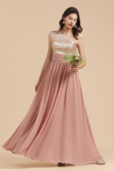BM2010 Sequins A-line One Shoulder Pink Bridesmaid Dress_5