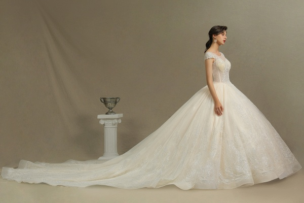 CPH223 Cap Sleeve Aline Cathedral Tulle Lace Appliques Garden Luxury Wedding Dresses_8