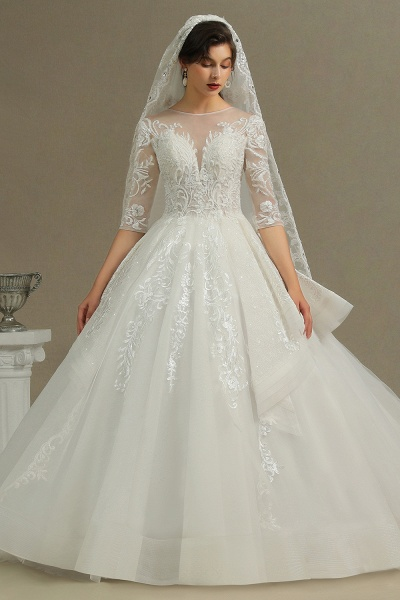 CPH227 Luxury Floral Lace Bridal Gown Crew Neck Long Sleeves Aline Luxury Wedding Dresses_3