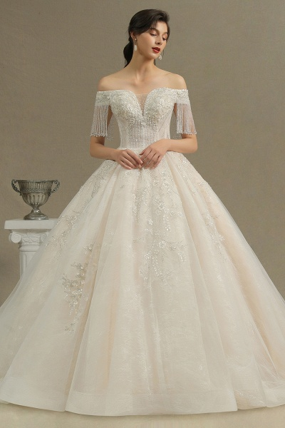 CPH224 Appliques Beads Off-the-shoulder Tassel Ball Gown Wedding Dress
