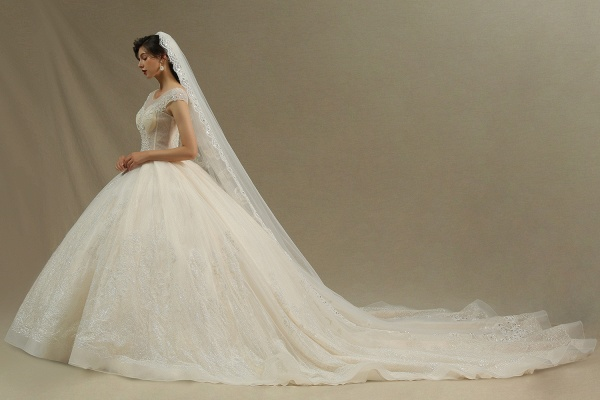 CPH223 Cap Sleeve Aline Cathedral Tulle Lace Appliques Garden Luxury Wedding Dresses_7