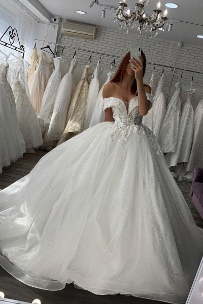 BC5614 Shiny Lace Sweetheart Off The Shoulder Ball Gown Wedding Dress