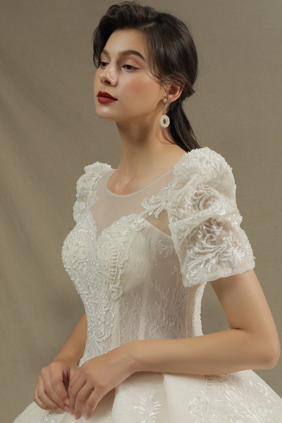 CPH222 Short Sleeve Garden Bridal Gown Sweetheart Luxury Wedding Dresses with Sweep Train_6