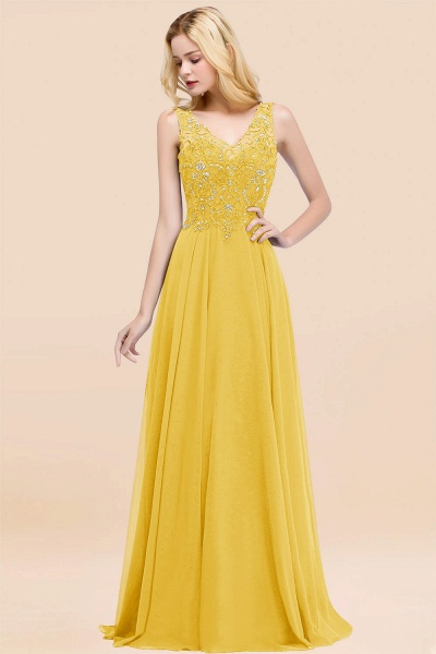 A-line Chiffon Appliques V-neck Sleeveless Floor-Length Bridesmaid Dresses with Crystals_17