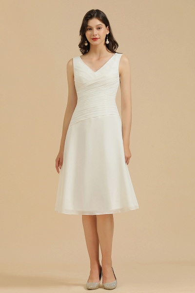 BM2005 Simple A-line Straps Ruffles Short Bridesmaid Dress