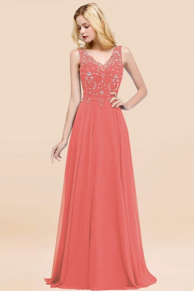 A-line Chiffon Appliques V-neck Sleeveless Floor-Length Bridesmaid Dresses with Crystals_7