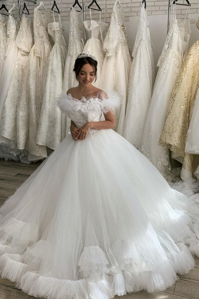 BC5616 Tulle Ruffles Pleated Off The Shoulder Ball Gown Wedding Dress_3