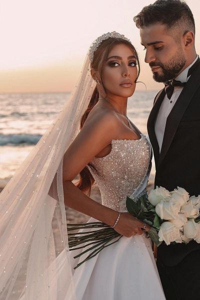 BC5617 One Shoulder Long Sleeve Sequins A-line Wedding Dress_10